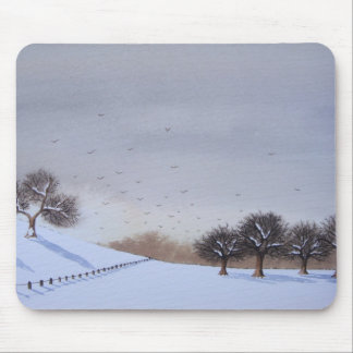 rural countryside landscape snow scene mouse mat mouse pad