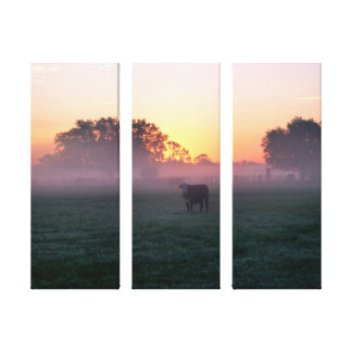 Rural Cow in the Sunrise Mist 3-Panel Canvas