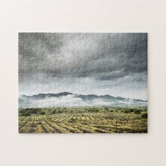 Rural Crop Fields Under Cloudy Sky Jigsaw Puzzle