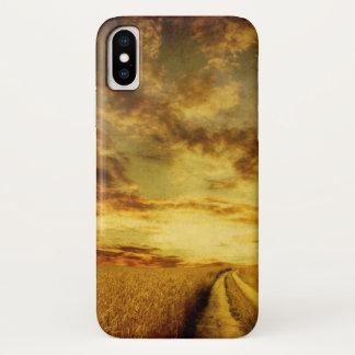 Rural dirt road through the field iPhone x case