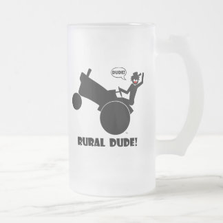 RURAL DUDE 2 FROSTED GLASS BEER MUG