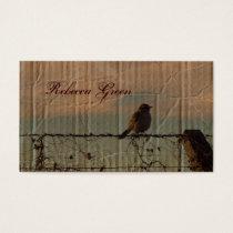 Rural Farm fence bird western barn wedding Business Card