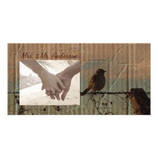Rural Farm fence bird western barn wedding Card