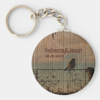 Rural Farm fence bird western barn wedding favor Keychain