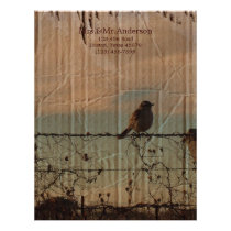 Rural Farm fence bird western barn wedding Letterhead
