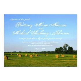 Rural Farm Hay Bales Country Wedding Invitations 4.5