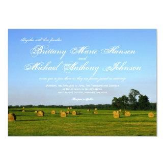 "Rural Farm Hay Bales Country Wedding Invitations 4.5"" X 6.25"" Invitation Card"