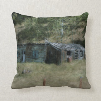 Rural Farm Outbuildings Impressionist Art Throw Pillow
