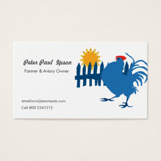 Rural Farmer Country Rooster with Sunshine Business Card