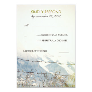 Rural Fence Barbed Wire Rustic Wedding RSVP Card