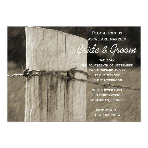 Rural Fence Post Country Farm Wedding 5x7 Paper Invitation Card