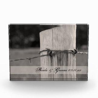 Rural Fence Post Country Ranch Wedding Keepsake Acrylic Award