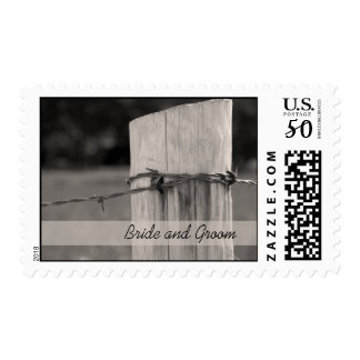 Rural Fence Post Country Ranch Wedding Postage
