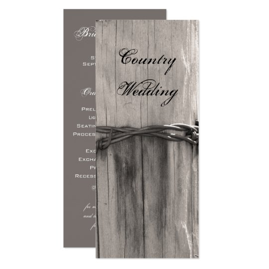 Rural Fence Post Country Ranch Wedding Program