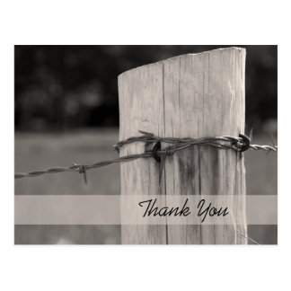 Rural Fence Post Country Thank You Postcard