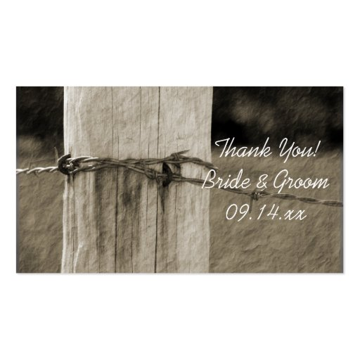 Rural Fence Post Country Wedding Favor Tags Business Card Template