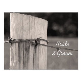 Rural Fence Post Country Wedding Flat Note Card Invites