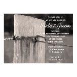 "Rural Fence Post Country Wedding Invitation 5"" X 7"" Invitation Card"
