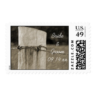 Rural Fence Post Country Wedding Postage Stamp