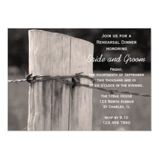 Rural Fence Post Country Wedding Rehearsal Dinner Card