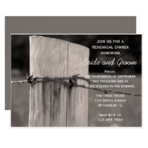 Rural Fence Post Country Wedding Rehearsal Dinner Invitation