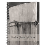 Rural Fence Post Country Wedding Spiral Notebook