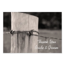 Rural Fence Post Country Wedding Thank You Note Card