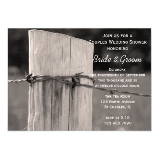 Rural Fence Post Couples Country Wedding Shower Card