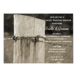 Rural Fence Post Couples Farm Wedding Shower 5x7 Paper Invitation Card