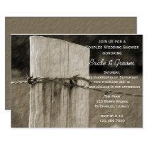 Rural Fence Post Couples Farm Wedding Shower Card