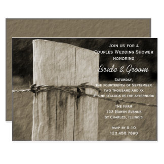 Rural Fence Post Couples Farm Wedding Shower Card