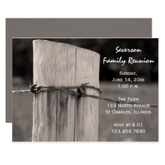 Rural Fence Post Family Reunion Invitation