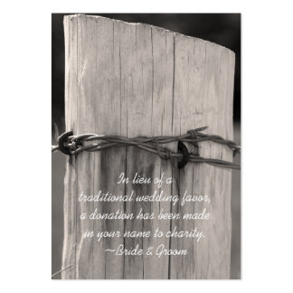 Rural Fence Post Ranch Wedding Charity Favor Card