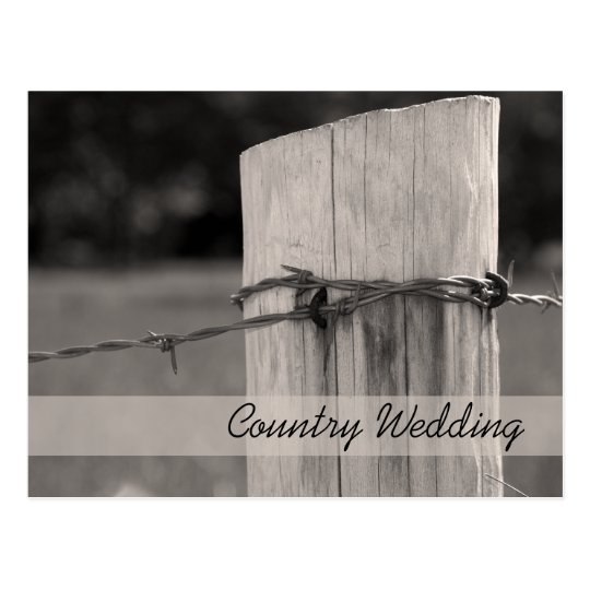 Rural Fence Post Ranch Wedding Save the Date Postcard