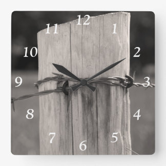Rural Fence Post Square Clock