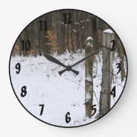 Rural Fence Posts Scene on Country Backroad Large Clock