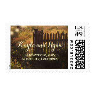 rural fence rustic wedding postage