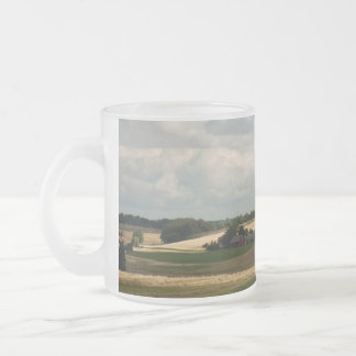 Rural landscape frosted glass coffee mug