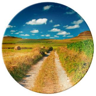 Rural landscape porcelain plates