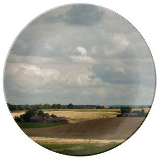 Rural landscape porcelain plate