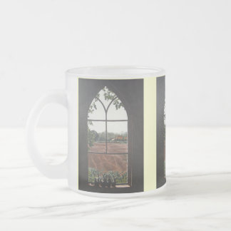 Rural landscape view from church window painting frosted glass coffee mug