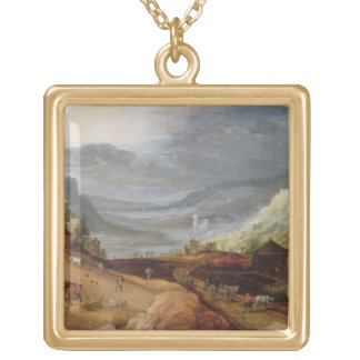 Rural Landscape with a Farmer Bridling Horses, a P Gold Plated Necklace