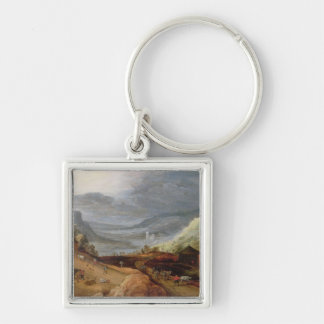 Rural Landscape with a Farmer Bridling Horses, a P Keychain