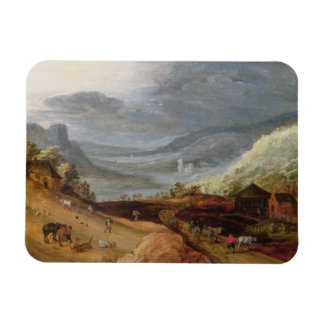 Rural Landscape with a Farmer Bridling Horses, a P Magnet