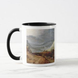 Rural Landscape with a Farmer Bridling Horses, a P Mug