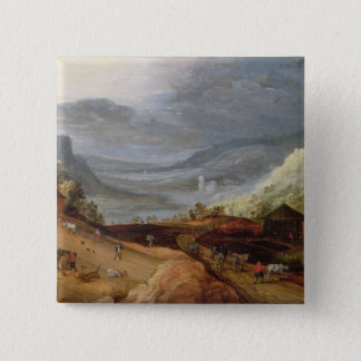 Rural Landscape with a Farmer Bridling Horses, a P Pinback Button
