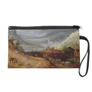 Rural Landscape with a Farmer Bridling Horses, a P Wristlet