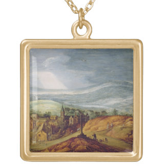 Rural Landscape with a Pilgrim Kneeling Before the Gold Plated Necklace