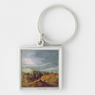 Rural Landscape with a Pilgrim Kneeling Before the Keychain