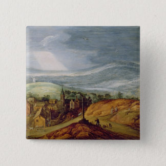 Rural Landscape with a Pilgrim Kneeling Before the Pinback Button